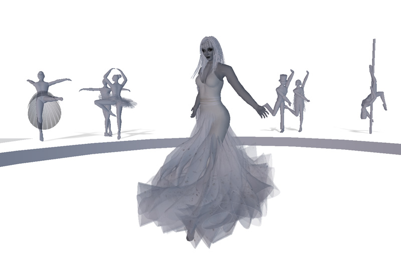 Dancing with statues at Meet the spiders at 'Not Everything Is Plain Black & White' in Inworldz