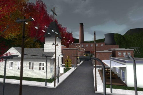 The town of Maytown - and the polluting power station beyond