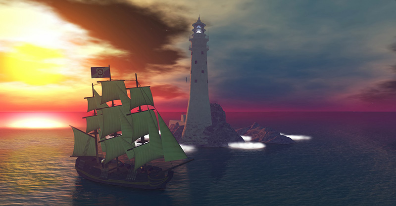 The Battle Star: Sailing in Second Life; photograph by Wildstar Beaumont