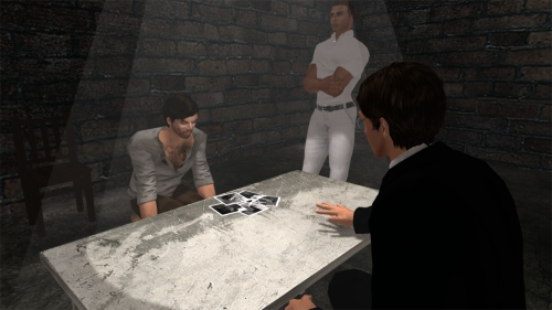 Interrogation in Season 2 Episode 1 of The Blackened Mirror