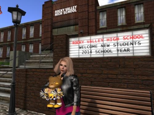Rocky Valley High School: Saffia with cheerleading bear