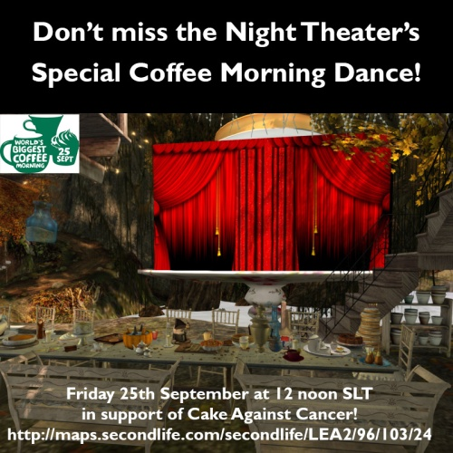 The Night Theater performs on LEA2 at 12 noon SLT