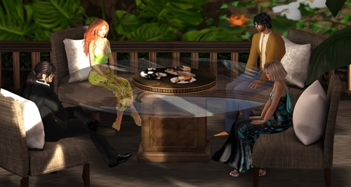 Filming at the Designing Worlds Cafe at SL13B, photographed by Wildstar Beaumont