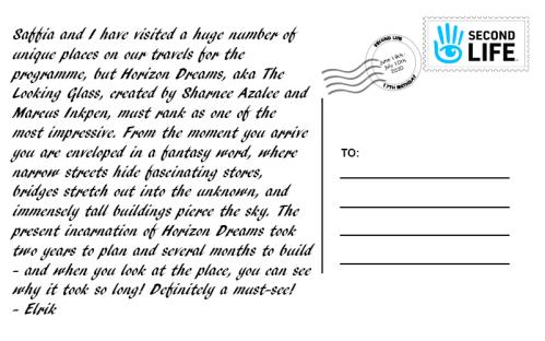 A sample postcard message