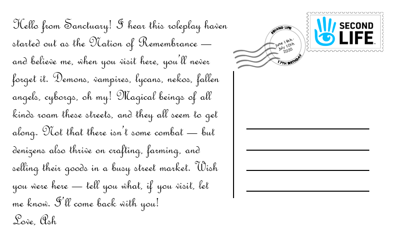 A sample postcard message